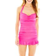 a.n.a® Shirred Halter 1-Piece Swimdress