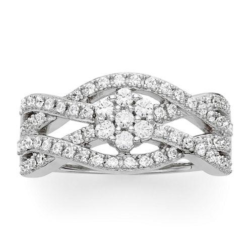 diamond blossom 1/2 CT. T.W. Diamond Crossover Ring