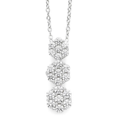jcpenney.com | diamond blossom 1/2 CT. T.W. Diamond 3-Stone Pendant Necklace