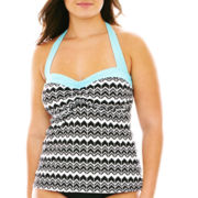 a.n.a® Zigzag Print Halterkini Swim Top - Plus