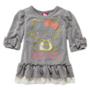 Hello Kitty® 3/4-Sleeve Ruffle-Waist Top - Girls 2t-6