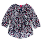 Pinky Chiffon 3/4-Sleeve Shirt - Girls 7-16