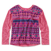 Pinky Jeweled Mixed Print Top - Girls 7-16