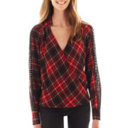 XOXO® Long-Sleeve Plaid Blouse
