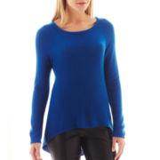 nicole by Nicole Miller® Long-Sleeve Zipper-Back Tunic Sweater
