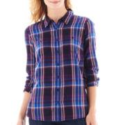 St. John's Bay® Brushed Twill Shirt - Petite