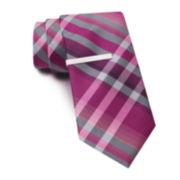 Van Heusen Plaid Tie w/ Tie Bar - Slim