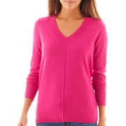 jcp™ Long-Sleeve Fine-Gauge V-Neck Sweater
