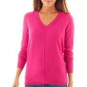 jcp™ Long-Sleeve Fine-Gauge V-Neck Sweater