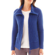 St. John's Bay® Long-Sleeve Ribbed Cable Zip Cardigan