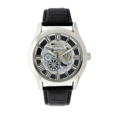 jcpenney.com | Geneva Mens Black Leather Strap Skeleton-Look Watch