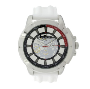jcpenney.com | Geneva Mens White Silicone Strap Skeleton-Look Watch