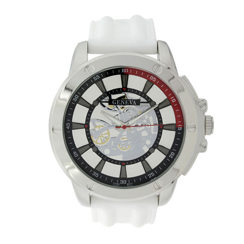 Geneva Mens White Silicone Strap Skeleton-Look Watch
