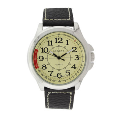 jcpenney.com | Geneva Mens Cream Dial Brown Leather Strap Watch