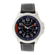 Geneva Mens Blue Dial Brown Leather Strap Watch