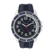 Geneva Mens Blue Dial Navy Silicone Strap Watch