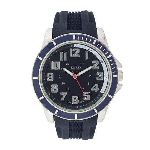 Geneva Mens Blue Dial Navy Silicone Strap Watch