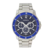 Geneva Mens Blue Dial Silver-Tone Multifunction-Look Watch
