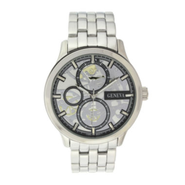 jcpenney.com | Geneva Mens Silver-Tone Skeleton-Look Watch