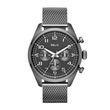 jcpenney.com | Relic® Collin Mens Gray Dial Gunmetal Stainless Steel Mesh Watch ZR15810