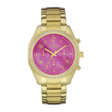 jcpenney.com | Caravelle New York® Womens Crystal-Accent Pink Dial Sport Watch 44L168