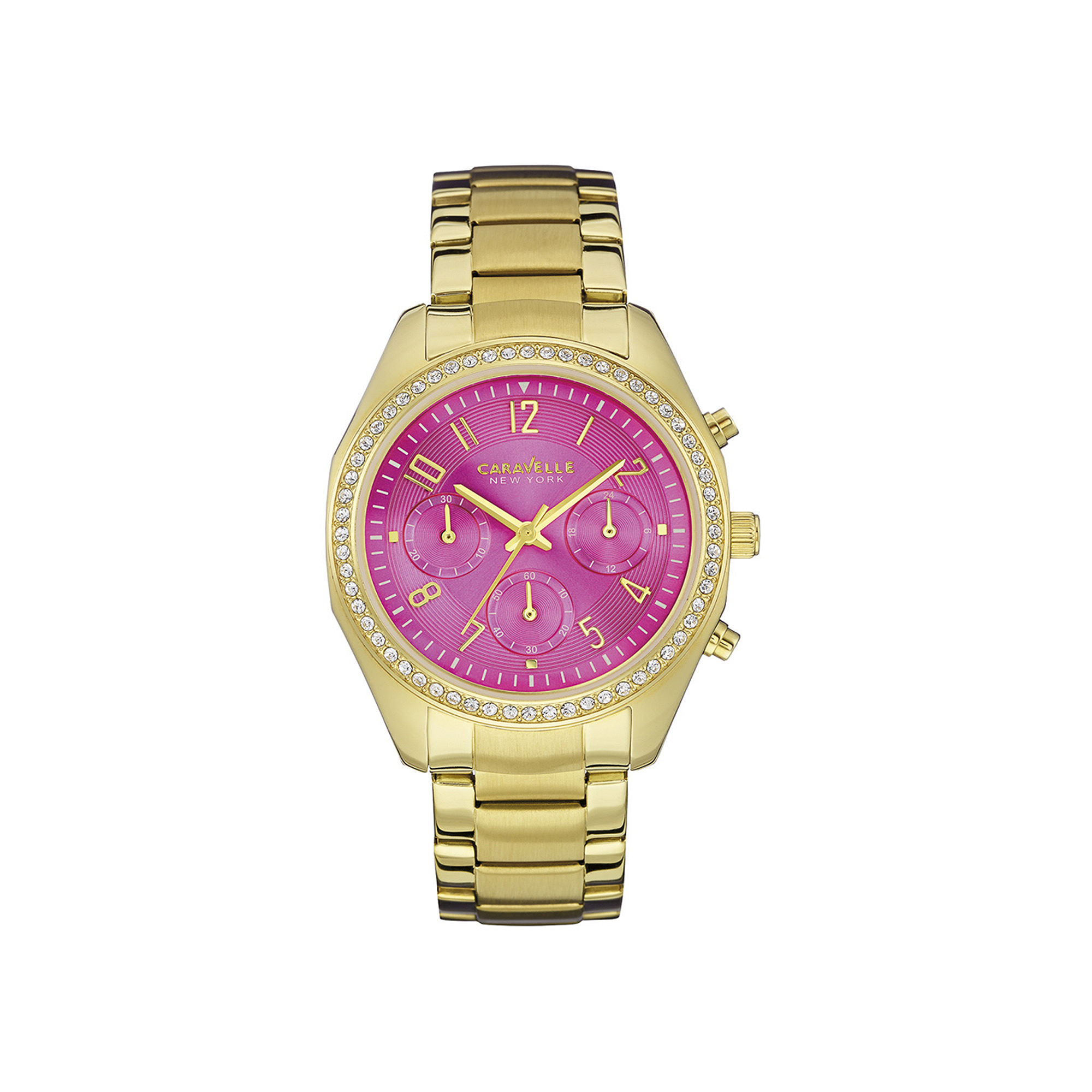 Caravelle New York Womens Crystal-Accent Pink Dial Sport Watch 44L168