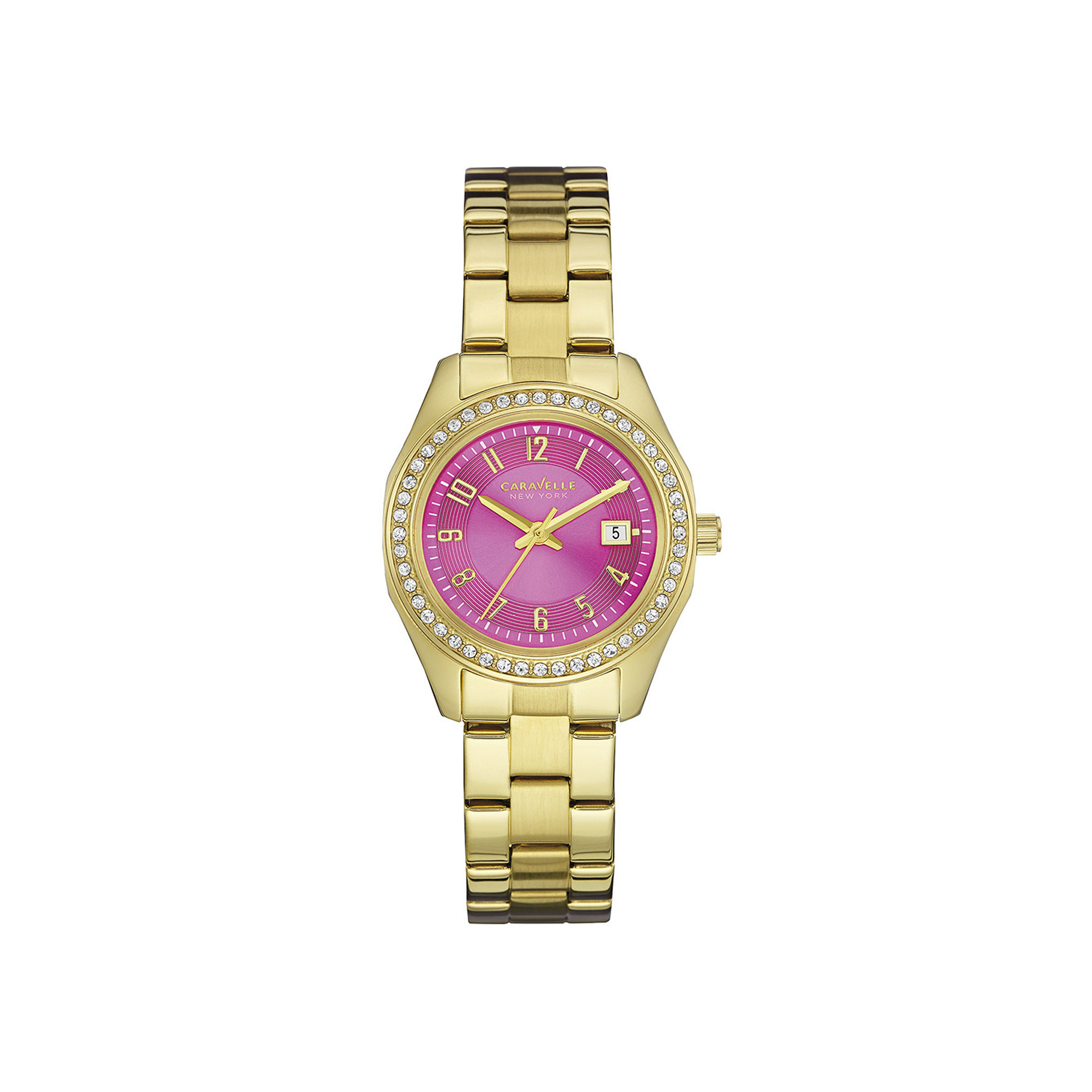 Caravelle New York Womens Crystal-Accent Pink Dial Bracelet Watch 44M107