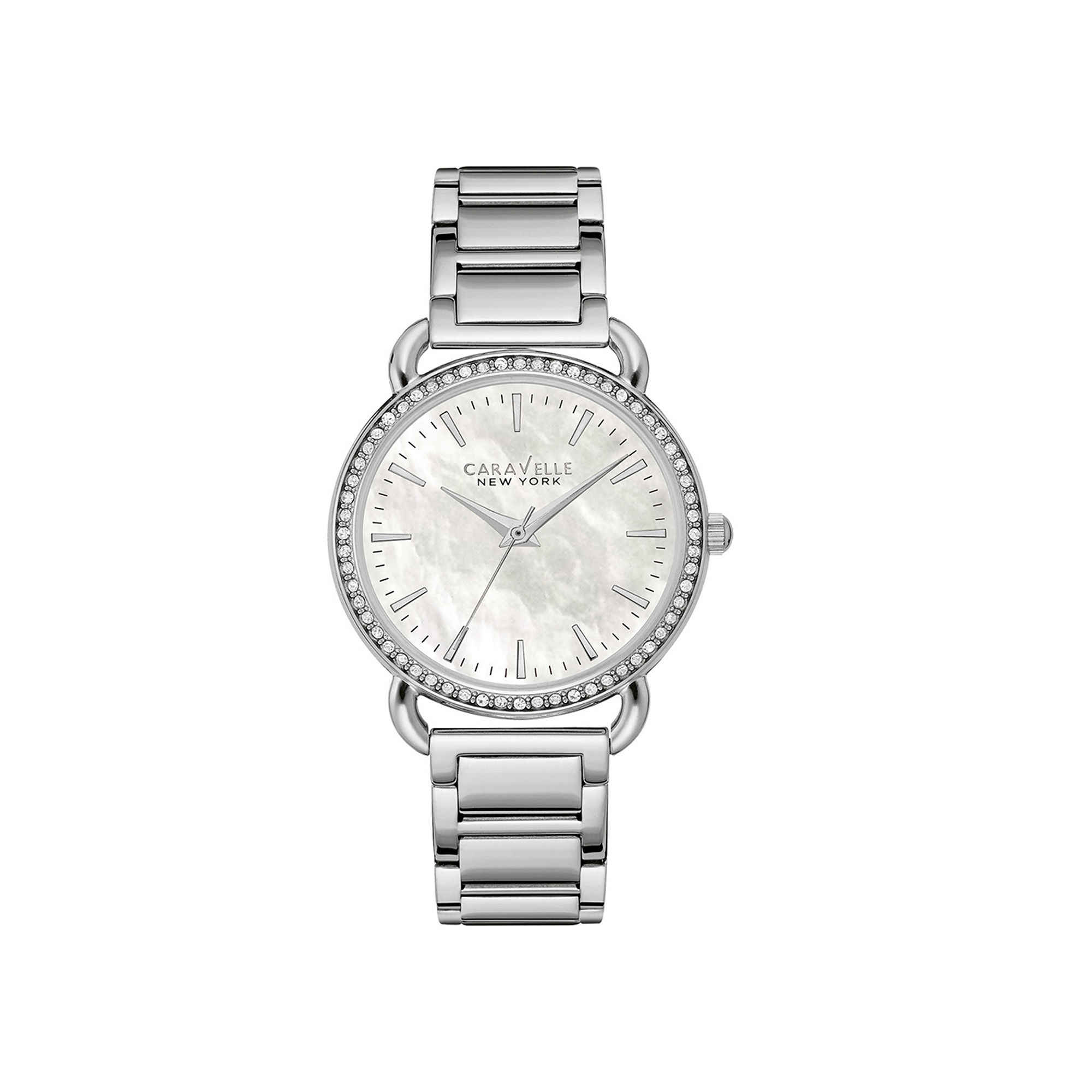 Caravelle New York Womens Crystal-Accent Stainless Steel Bracelet Watch 43L184