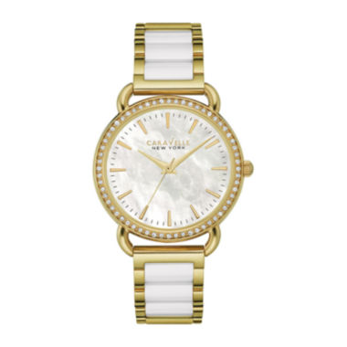 jcpenney.com | Caravelle New York® Womens Crystal-Accent Two-Tone Bracelet Watch 44L172