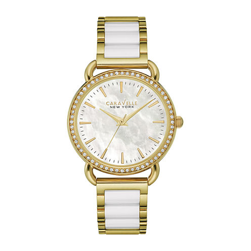 Caravelle New York® Womens Crystal-Accent Two-Tone Bracelet Watch 44L172