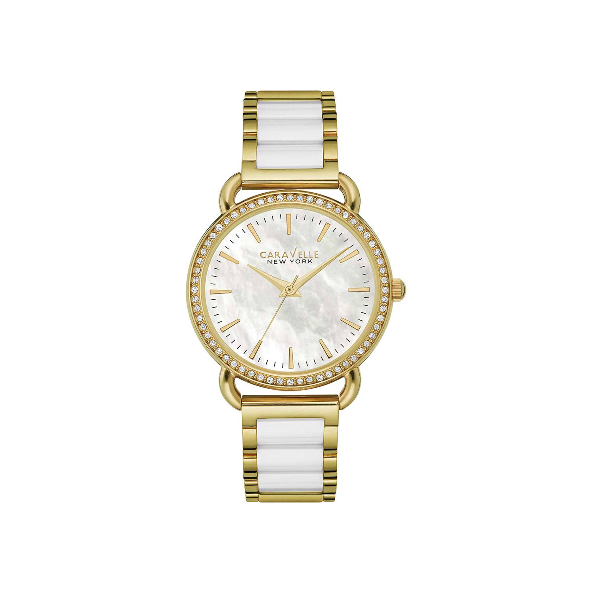 Caravelle New York Womens Crystal-Accent Two-Tone Bracelet Watch 44L172