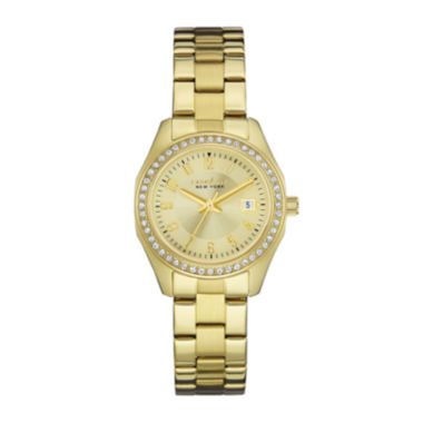 jcpenney.com | Caravelle New York® Womens Crystal-Accent Champagne Dial Bracelet Watch 44M108