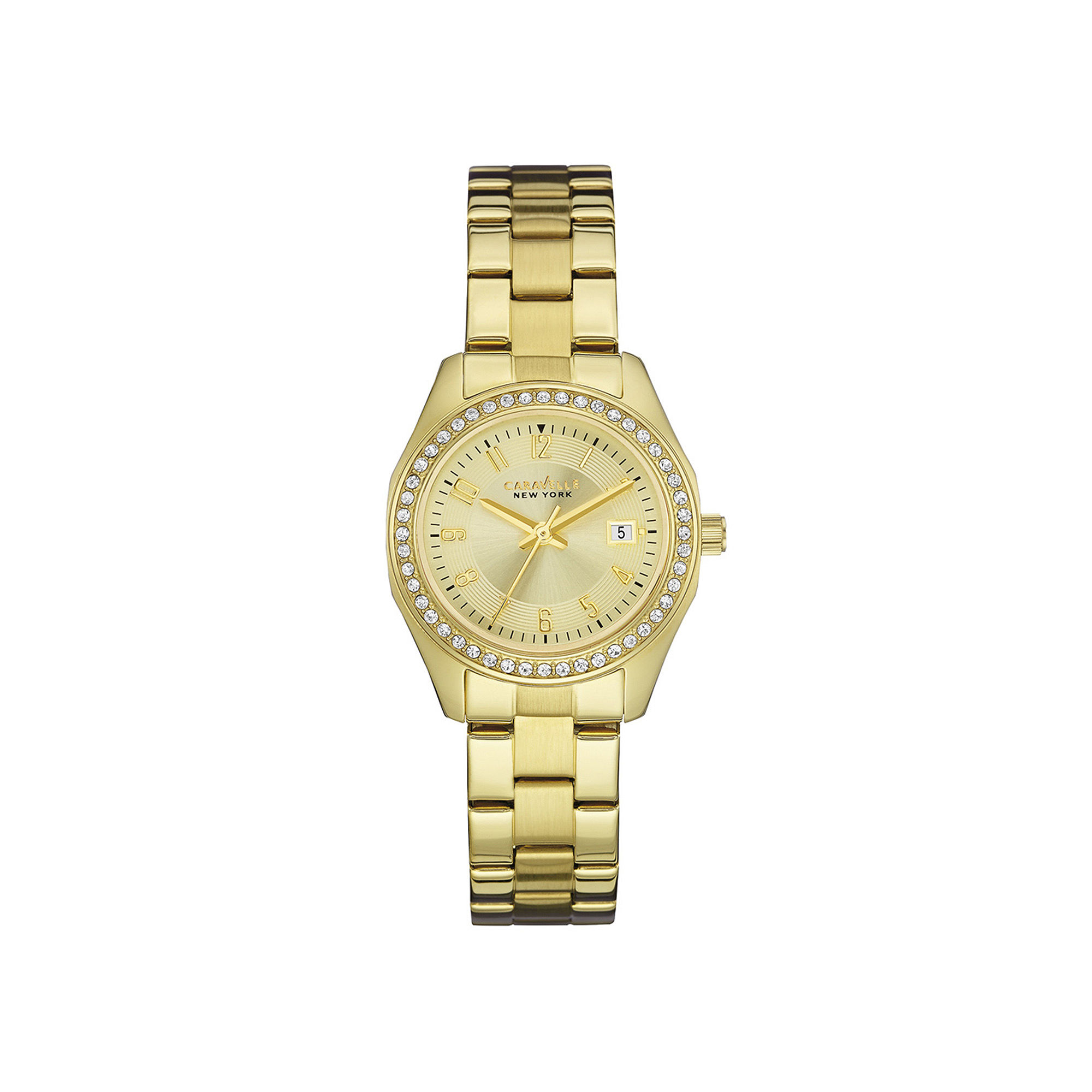 Caravelle New York Womens Crystal-Accent Champagne Dial Bracelet Watch 44M108