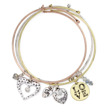 jcpenney.com | Messages from the Heart® by Sandra Magsamen® 3-pc. Love Bangle Bracelet Set