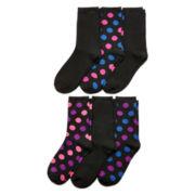 Womens 6-pk. Polka Dot and Solid Knit Crew Socks