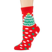 Womens Ugly Sweater Christmas Tree Crew Socks