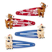 Rudolph the Reindeer and Clarice 4-pc. Christmas Red and Blue Snap Hair Clip Set