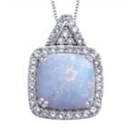 Lab-Created Opal and White Sapphire Pendant Necklace
