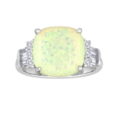 jcpenney.com | Cushion-Cut Lab-Created Opal and White Sapphire Ring