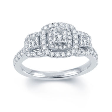 jcpenney.com | Modern Bride® Signature 1 CT. T.W. Diamond 14K White Gold 3-Stone Princess-Cut Ring