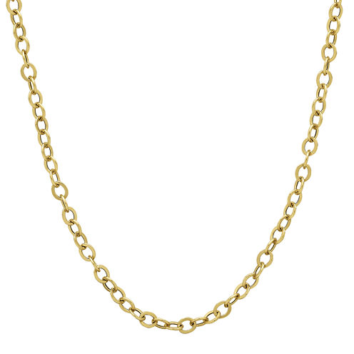 """Made in Italy 14K Yellow Gold 22"""" Hollow Rolo Chain Necklace"""