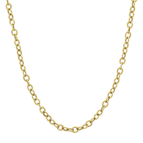 """Made in Italy 14K Yellow Gold 18"""" Hollow Rolo Chain Necklace"""