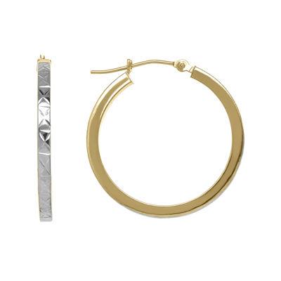 Infinite Gold 14k Two Tone Diamond Cut 2mm Hoop Earrings
