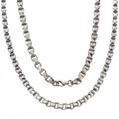 "jcpenney.com | Mens Stainless Steel 24"" 5mm Box Chain Necklace"