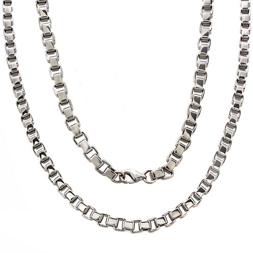 """Mens Stainless Steel 24"""" 5mm Box Chain Necklace"""
