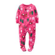 Carter's® Fleece Santa-Print Pajamas - Baby Girls 12m-24m