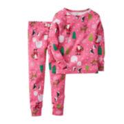 Carter's® Pink Santa Pajamas - Baby Girls 6m-24m