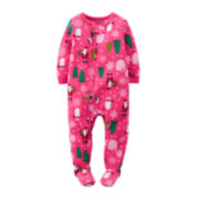 Carter's® Fleece Santa-Print Pajamas - Toddler Girls 2t-5t