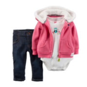 Carter's® Owl Hoodie, Bodysuit and Jeans - Baby Girls newborn-24m