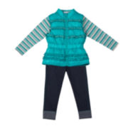 Little Lass Vest, Top and Jeggings Set- Preschool Girls 4-6x